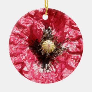 かわいらしく赤いケシの花のマクロカスタムな誕生日 セラミックオーナメント