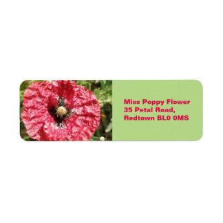 かわいらしく赤いケシの花のマクロカスタムのラベル ラベル