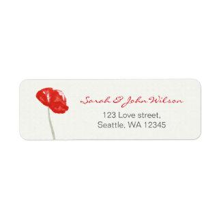 かわいらしく赤いケシの花柄の住所シール ラベル