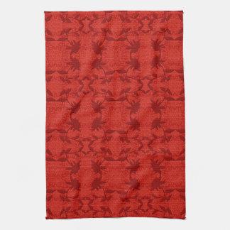 かわいらしく赤いレース花パターン皿タオル キッチンタオル