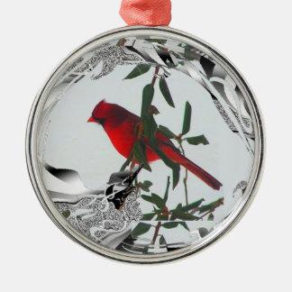 かわいらしく赤い北の(鳥)ショウジョウコウカンチョウ メタルオーナメント