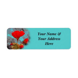 かわいらしく赤い花の宛名ラベル ラベル