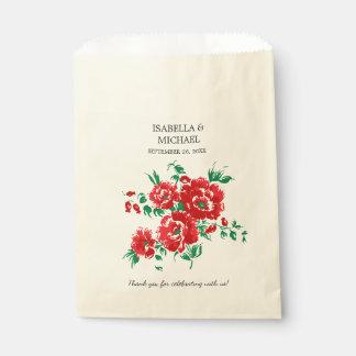 かわいらしく赤い花の結婚式 フェイバーバッグ