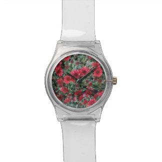 かわいらしく赤い花の腕時計 腕時計