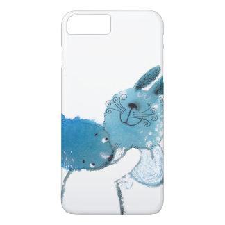 かわいらしく青いウサギIPHONEの箱 iPhone 7 PLUSケース