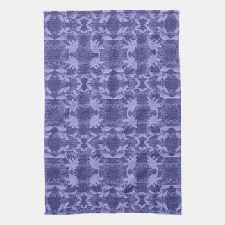 かわいらしく青いレース花パターン皿タオル キッチンタオル
