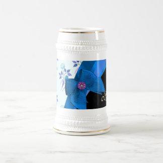 かわいらしく青いヴィンテージの花の花模様 ビールジョッキ