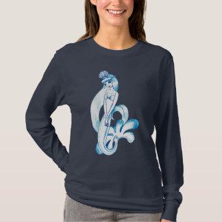 かわいらしく青い人魚の淡いブルーの背景 Tシャツ