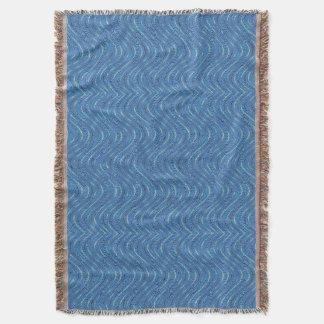 かわいらしく青い波パターン スローブランケット