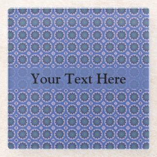 かわいらしく青い花パターン ガラスコースター