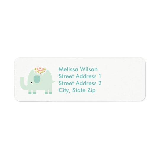 かわいらしく青い象の差出人住所ラベル 返信用宛名ラベル