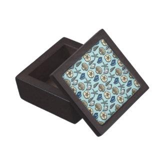 かわいらしく青い貝のヒトデの海パターン ギフトボックス