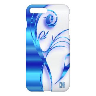 かわいらしく青い金属および白|のモノグラム iPhone 7 PLUSケース