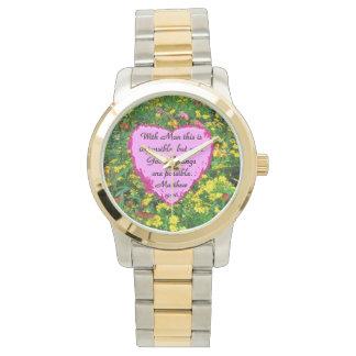 かわいらしく黄色い花柄MATTHEWSの19:26の写真のデザイン 腕時計