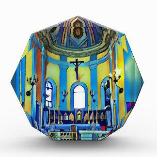 かわいらしく黄色く青く鮮やかな教会祭壇 表彰盾