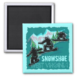 かんじきのウェストヴァージニアのティール(緑がかった色)のスノーボードの磁石 マグネット