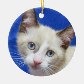 かんじきのシャムの子ネコのオーナメント セラミックオーナメント