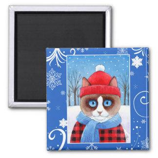 かんじきのRagdollかわいい猫、クリスマスの冬の自然 マグネット