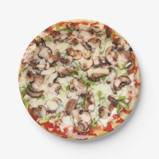きのこピザ紙皿7つ ペーパープレート