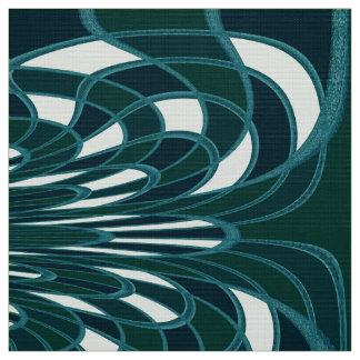 きのこ、抽象芸術-ティール(緑がかった色) -生地 ファブリック