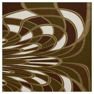 きのこ、抽象芸術-ブラウン-生地 ファブリック