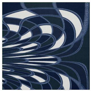 きのこ、抽象芸術-海軍-生地 ファブリック