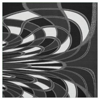 きのこ、抽象芸術-黒生地 ファブリック