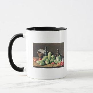 きゅうりおよびトマトが付いている静物画 マグカップ