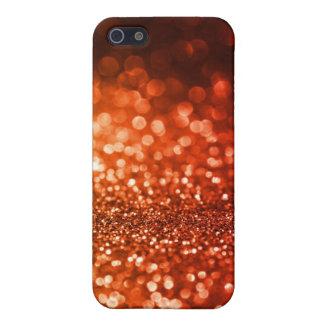 きらきら光るで赤いオレンジグリッターの水晶のiphone 4ケース iPhone 5 ケース
