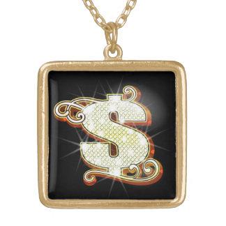 きらきら光るなお金の記号のネックレス ゴールドプレートネックレス