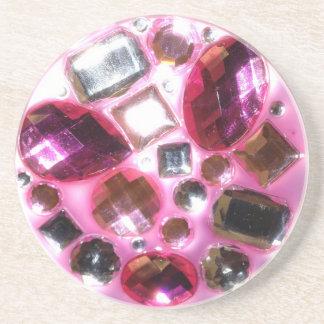きらきら光るなかわいらしいピンクの宝石 コースター
