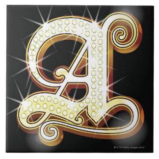 きらきら光るなアルファベットA タイル