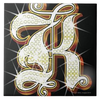 きらきら光るなアルファベットK タイル