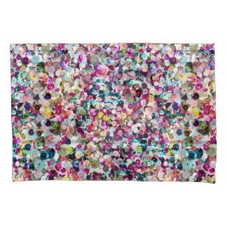 きらきら光るなガーリーな虹の模造のなスパンコール 枕カバー