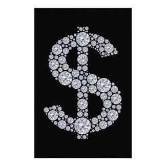 きらきら光るなダイヤモンドのドル記号 便箋