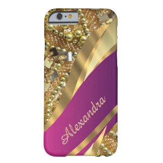 きらきら光るなパーソナライズされたでエレガントなピンクおよび金ゴールド BARELY THERE iPhone 6 ケース