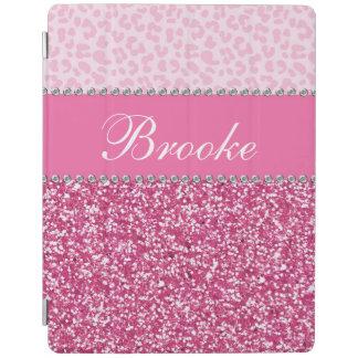 きらきら光るなピンクのグリッターのラインストーンのヒョウ iPadスマートカバー