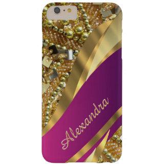 きらきら光るな名前入りでエレガントなピンクおよび金ゴールド BARELY THERE iPhone 6 PLUS ケース