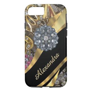 きらきら光るな名前入りでシックでエレガントな金ゴールドのラインストーン iPhone 8/7ケース