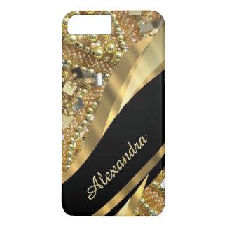 きらきら光るな名前入りでシックでエレガントな黒および金ゴールド iPhone 8 PLUS/7 PLUSケース