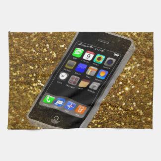 きらきら光るな携帯電話 ハンドタオル