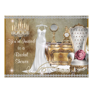 きらきら光るな旧式な恋人のブライダルシャワーの招待状ののど カード