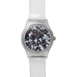 きらきら光るな模造のなダイヤモンドのヒップスターの水晶写真 腕時計