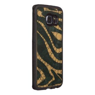きらきら光るな金ゴールドのエメラルドの織り目加工のシマウマ ウッドケース