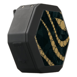 きらきら光るな金ゴールドのエメラルドの織り目加工のシマウマ ブラックBluetoothスピーカー