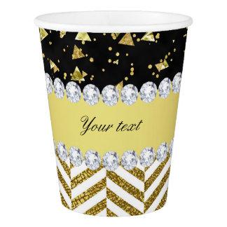 きらきら光るな金ゴールドの紙吹雪の三角形のシェブロンのダイヤモンド 紙コップ