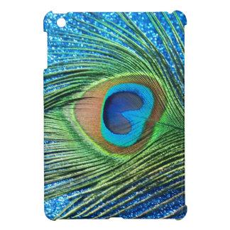 きらびやかで青い孔雀の羽の静物画 iPad MINIケース