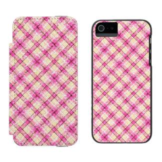 きらびやかなピンク及び黄色い格子縞 INCIPIO WATSON™ iPhone 5 ウォレット ケース