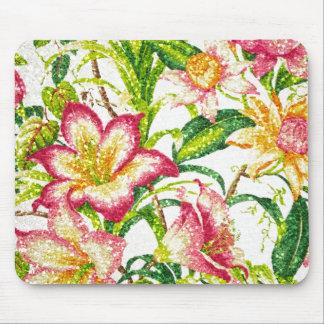 きらびやかな春の花柄のタペストリー マウスパッド