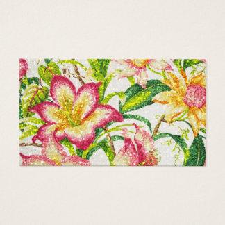 きらびやかな春の花柄のタペストリー 名刺